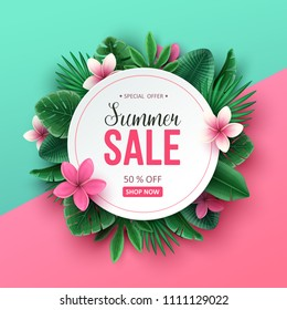 Summer sale background with tropical flowers and palm leaves. Vector illustration.
