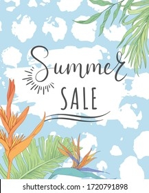 Summer Sale. Background with tropical flowers and palm leaves