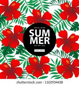 Summer sale background vector illustration sale off template
