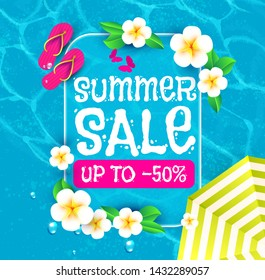 Summer Sale Background. Warm Sea, Plumeria Flower, Slippers and Palm leaves. Nive Vacation Design.