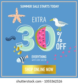 Summer Sale Banner with Beach Elements. Discount Poster Template. Hand Drawn Promotional Design for Flyer, Cover, Placard. Vector illustration