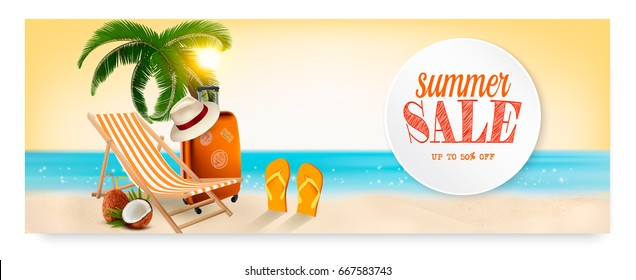 Summer sale banner with a beach vacation background. Vector.