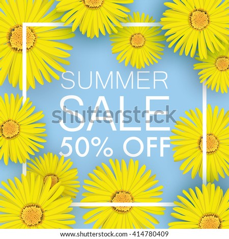 Summer sale banner blue yellow flowers stock vector royalty free summer sale banner blue with yellow flowers around the inscription shadows of flowers giving depth mightylinksfo