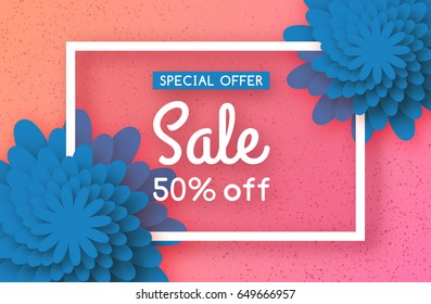 Summer sale banner with colorful cut paper flower and square frame. Chamomile background. Floral greeting card. Space for text. Vector Illustration design.
