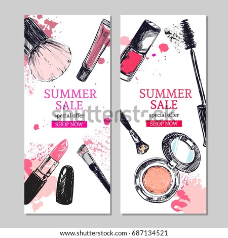 Summer sale banner. Cosmetics and beauty background with make up artist objects: lipstick,