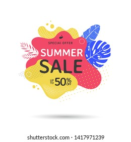 Summer sale banner design with abstract geometric shapes and palm leaves. Tropical Discount Poster with liquid form and texture. Vector illustration
