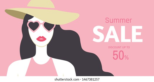 Summer Sale banner design with beautiful long-haired young woman with red lipstic, hat and sunglasses on pink background. Discount up to 50%. - Vector