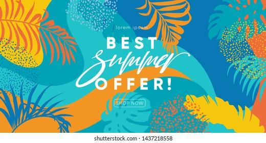 Summer Sale banner design. Best offer for summer sale promotion background. Eps10 vector.