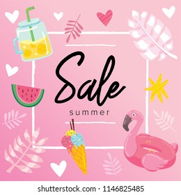 Summer sale banner design concept. Discount promotional for season offer. Flamingo pool ring, exotic tropical palm, ice cream and other elements in girl pink color