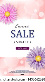 Summer Sale banner design with flowers. Vector illustration