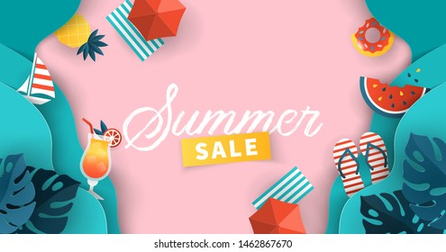 Summer sale banner design with paper cut tropical leaves, sea waves and  summer symbols background. Vector illustration