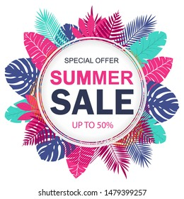Summer sale banner design for promotion with tropical leaves. Vector illustration
