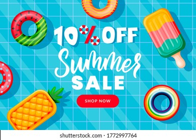 Summer sale banner design template. Inflatable floating funny toys in swimming pool, top view vector illustration. Season discount poster. Hand drawn calligraphy lettering on blue water background