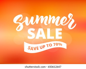 Summer sale banner design template. Brush lettering with typography. Save up to 70% text on waving banner. Abstract sunset sky background.