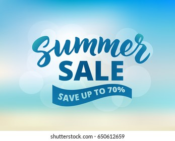 Summer sale banner design template. Brush lettering with typography. Save up to 70% text on waving banner. Abstract beach background, sky and sea bokeh.