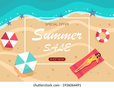 Summer sale banner design with tropical beach top view background. Vector illustration