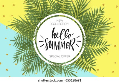 Summer sale banner design with tropical leaves. Hand drawn lettering and textures. Great for sale concept, label, tag, wallpaper, flyer, invitation, poster, brochure, voucher discount. Vector EPS 10.