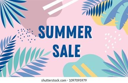 Summer sale, banner design with vintage colors