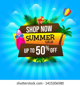 Summer Sale Banner Discount with Element Tropical