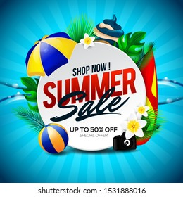 Summer Sale banner discount with element in the beach