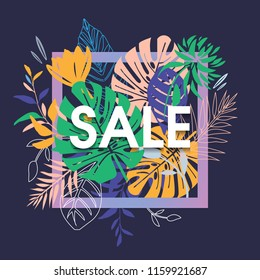 Summer Sale Banner with Flowers on Black Background. Vector Illustration. Hawaiian/Tropical style.  Colored Palm Leaves