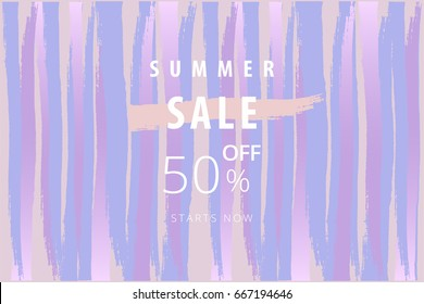 Summer sale banner. Freehand brush texture. Vector. Artistic background for advertising, web, blog, seasonal clearance