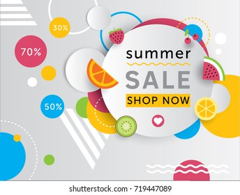 Summer sale banner with fresh fruits. Vector design geometric poster.