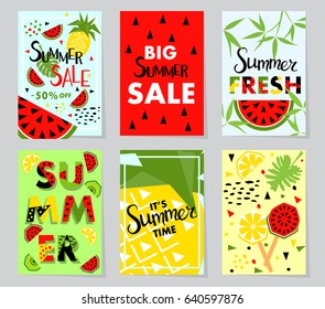 Summer sale banner with fruit, place for text. Trendy seasonal vector background, brochure template.