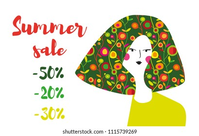 Summer sale banner with girl and flowers pattern, retro design. Vector graphic illustration