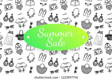 Summer sale banner with hand drawn fashion clothes and accessoires. Doodle illustration
