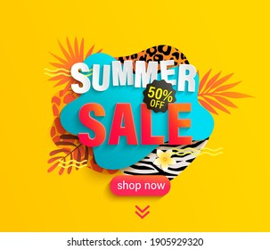Summer Sale banner for hot season with animal print. Discount poster with tropical leaves and price off offer.Invitation for shopping with 50 percent off,special offer card, template for design.Vector