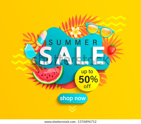 Summer Sale banner, hot season discount poster with tropical leaves,ice cream,watermelon, strawberries,and sunglasses. Invitation for shopping with 50 percent off. special offer card, template for design.