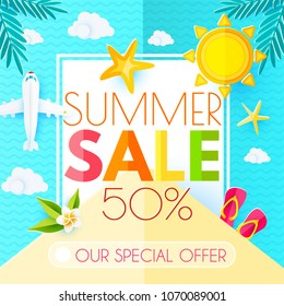 Summer Sale Banner Layout Design Template. Paper Art. Sky, Plane, Palm Leaves, Starfish, Waves, Plumeria, Flip Flops, Island, Sun and Clouds. Vector illustration