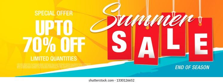 Sommerverkauf Banner-Design, Vektorgrafik