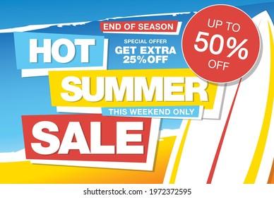 summer sale banner layout design, vector illustration