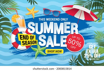 Sommerverkauf, Bannerlayout, Vektorgrafik, frische Version