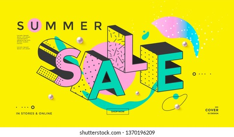 Summer sale banner with Memphis typography and geometric shapes. Trendy pop art clearance poster. Vector template