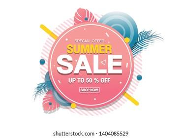 Summer sale banner modern design tropical leaves background.