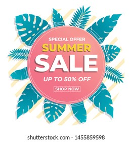 Summer sale banner modern design tropical leaves background. Promo badge for your seasonal design.