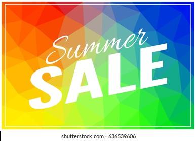 Summer sale banner, multicolor low polygonal vector