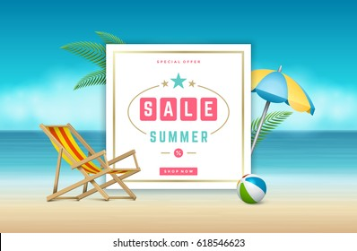 7955136f4db4 Advertisement Summer Holidays Seaside Vacation Poster Stock Vector ...