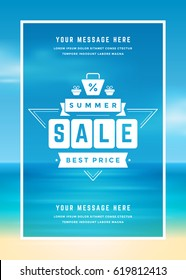 Summer Sale banner online shopping on beach background, for magazine and advertising poster or voucher. Vector illustration.