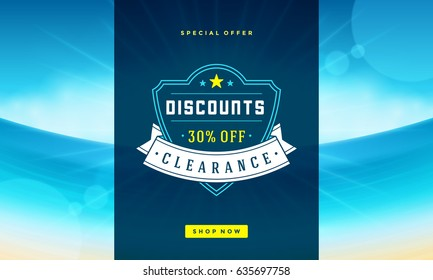 Summer sale banner online shopping on beach background. Vector illustration discount badge or label typographic design.