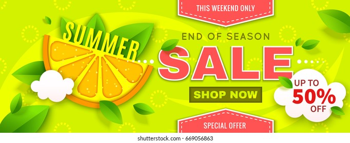 Summer Sale banner with orange slice and mint on bright green background. Vector illustration. End of season. Special offer up to 50% off. Template for poster, card, flyer, promotion leaflet
