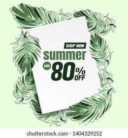 Summer Sale banner, paper art abstract background vector illustration.