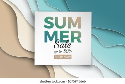 Summer sale banner with paper cut frame on blue sea and beach summer background with curve paper waves and seacoast for banner, flyer, poster or web site design. Paper cut style, vector illustration