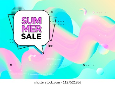 Summer sale banner pastel color. Trendy pop art background. Vector