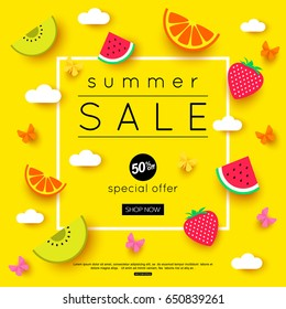 Summer Sale banner with pieces of ripe fruit, bright design. Vector eps 10 format