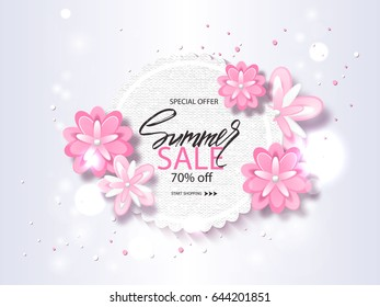 Summer sale banner, poster with beautiful flowers and handwriting lettering. Vector illustration EPS10