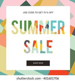 Summer Sale Banner, Sale Poster, Floral card, Vector illustration.